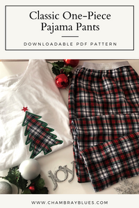 Classic One Piece Pajama Pant (Standard Sizes XS-XL) - Digital Download (PDF)