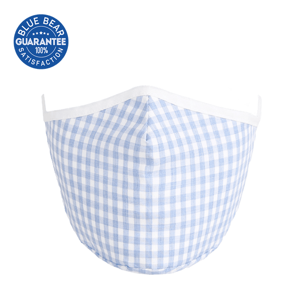 light blue checker print face mask