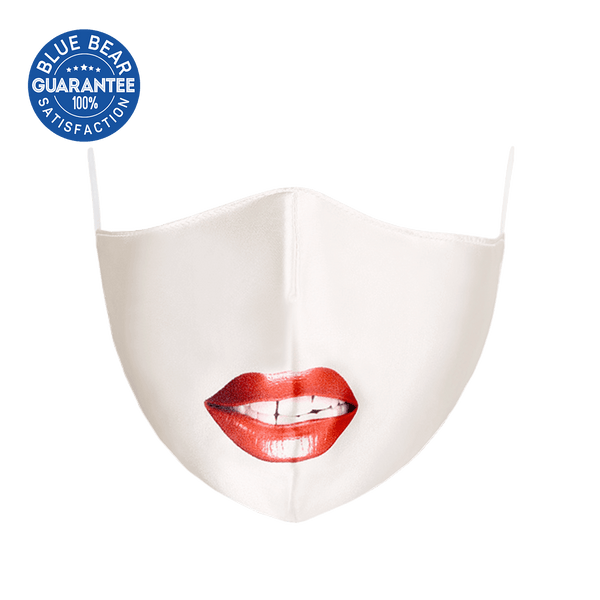 White Lips Smile Cloth Face Mask - Adult