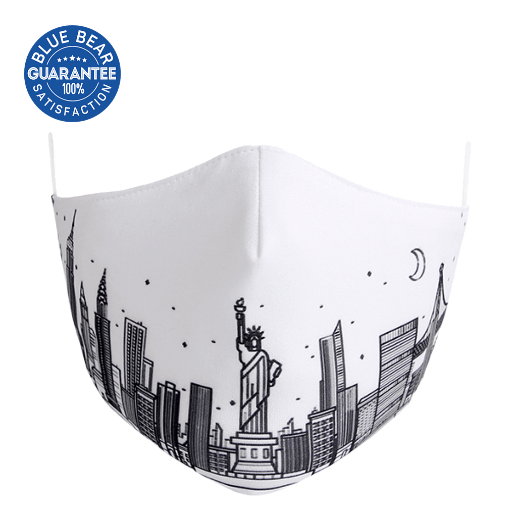 white face mask with NYC skyline image