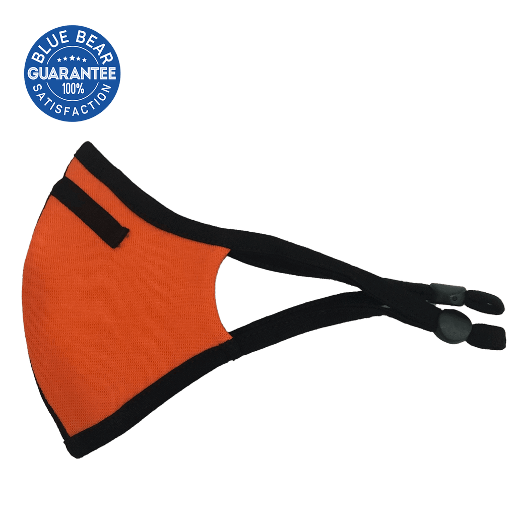 orange sports face mask side view