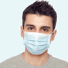 man wears disposable blue face mask
