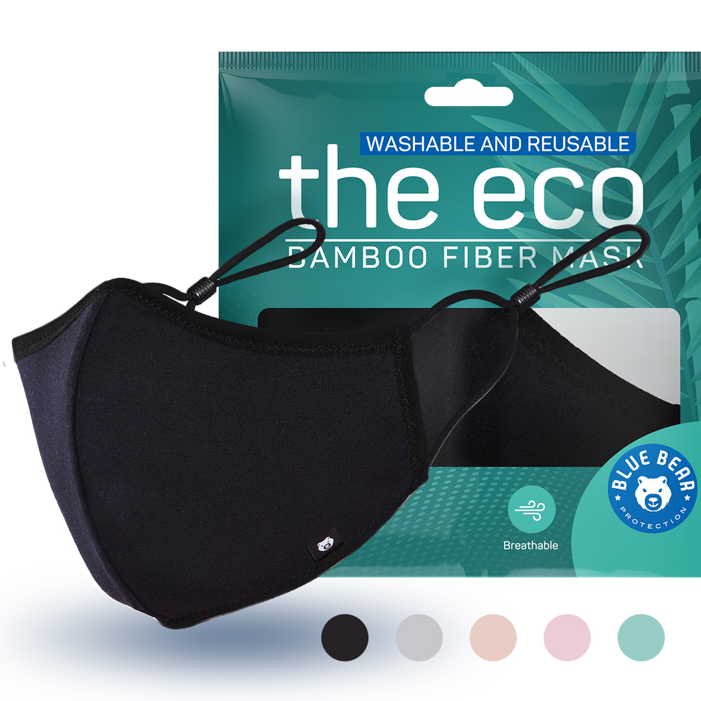 black eco washable and reusable face mask with packaging