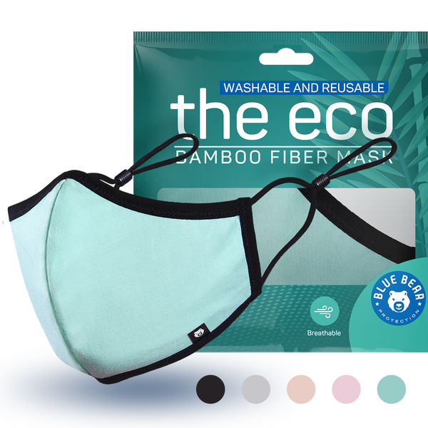 green eco washable and reusable face mask with packaging