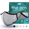 grey eco washable and reusable face mask with packaging