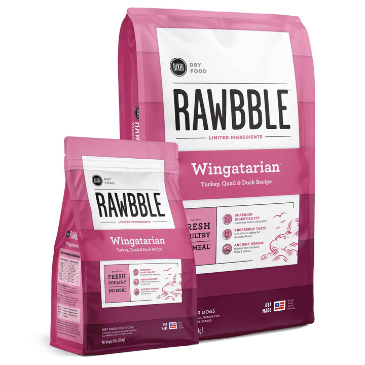 Rawbble Ancient Grain Wingatarian<br>Turkey, Quail & Duck<br>Limited Ingredient Dry Dog Food