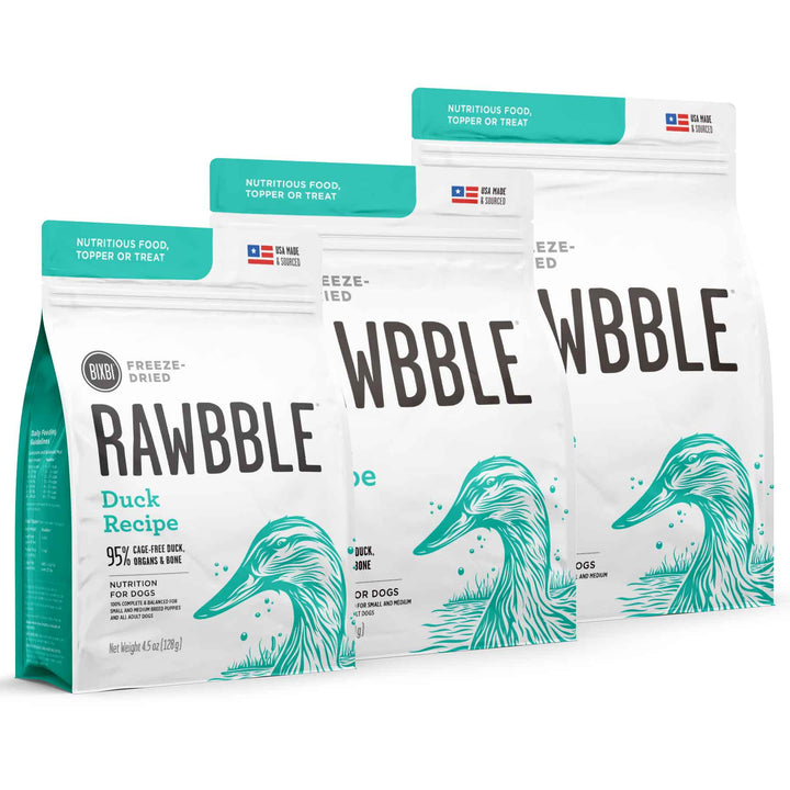 Rawbble Grain Free Duck<br>Limited Ingredient<br>Freeze Dried Dog Food/Toppers/Treats