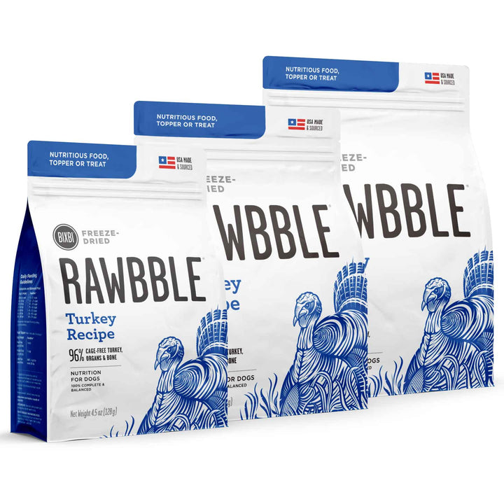 Rawbble Grain Free Turkey<br>Limited Ingredient<br>Freeze Dried Dog Food/Toppers/Treats