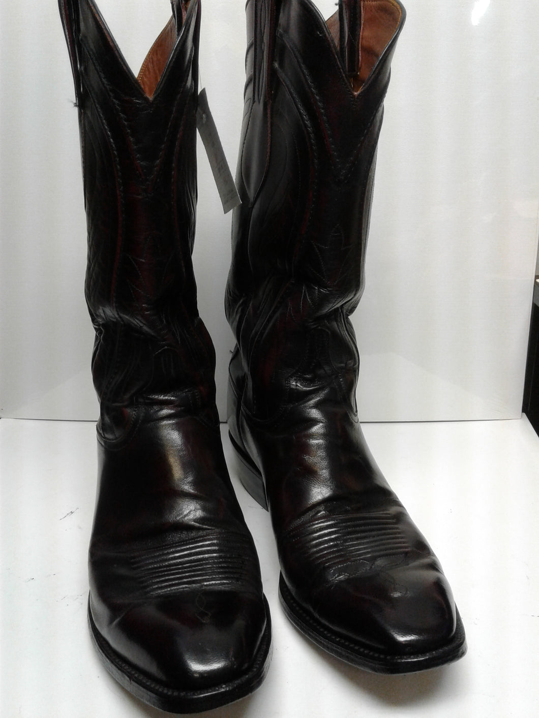 Lucchese Men's Boots Handmade Classic Black Cherry 9 D Fine Leather Preowned Excellent Condition $225