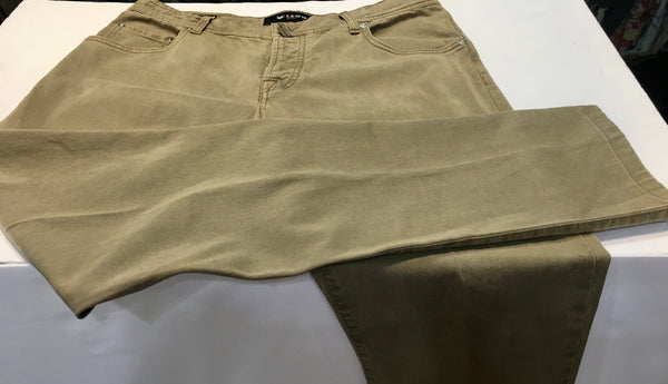 Kiton Men's Jeans Straight Leg, Khaki Olive Button Fly. Made in Italy, Preowned, 35 x 30. Retail Price $1295 Neiman Marcus. $299.