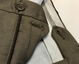 Canali Men's Dress Slacks, Olive-Brown 100% Wool Twill, Tailored 36 x 29, Handmade in Italy, Preowned, Excellent Condition, $82.50