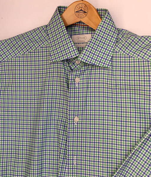 Eton Men's Shirt. Size Medium. Fine Swedish Line. Long Sleeve Green + Blue check. Contemporary Fit & style. Preowned, Excellent Condition. $62.50