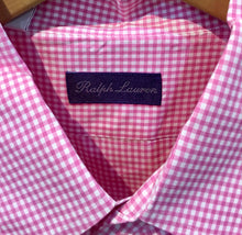 Load image into Gallery viewer, Ralph Lauren Purple Label Men's Shirt. Button Collar Fine Cotton, Pink and White/ Small Gingham Check XXL Preowned, Excellent Condition. $145.00