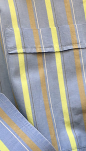 Lorenzini Men's Shirt. Handmade in Italy. Blue Green Olive Stripe XL Preowned Excellent Condition $99