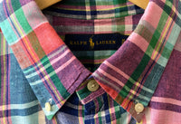 Ralph Lauren Madras Check Shirt, multi color- pink/blue tones, X-Large (17x37, chest 251/2), made in India, 100% Linen, Preowned , excellent condition, $59.50