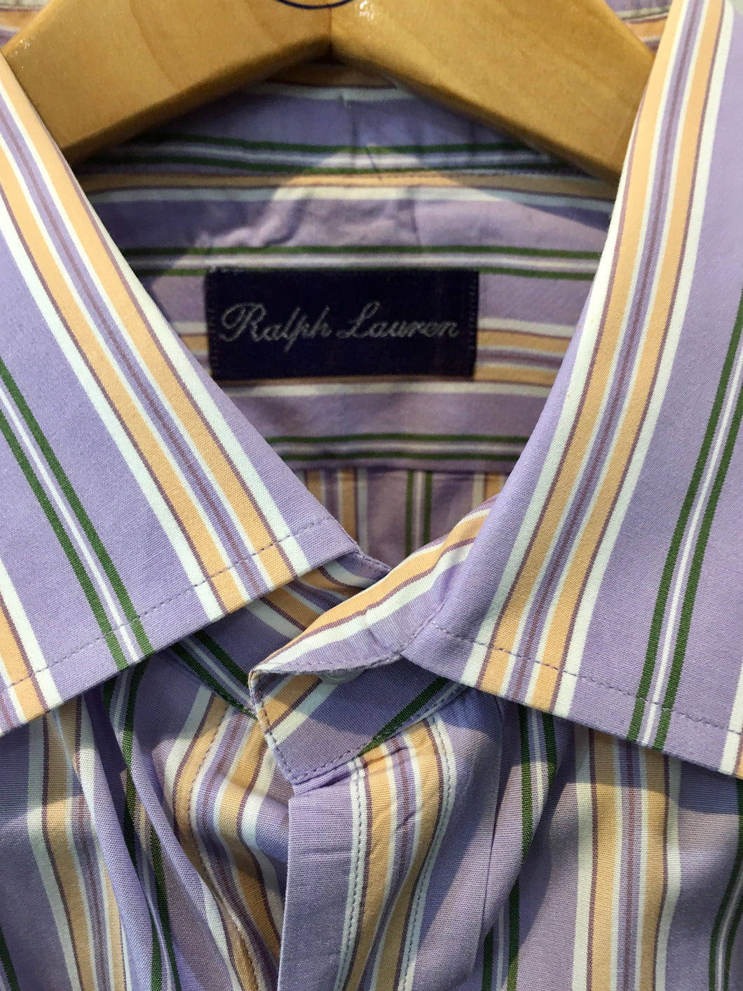 Ralph Lauren Purple Label Men's Shirt. Fine Cotton Fabric. Purple/ White/ Gold Multi-Stripe XL Preowned, Excellent Condition. $145.00