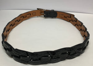 "Genuine Alligator Men's Belt. Black. Unique Design Woven Links. Exclusive Expensive. Size 34"". Preowned. Like New. $165"