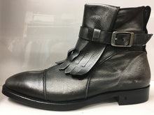 Load image into Gallery viewer, John Varvatos Men's Boots. Italian Handmade. Metallic Silver Leather Ankle Boots. 9.5. Med. New Never Worn.. $335.