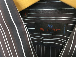 Etro Black Brown White Woven Long Sleeve Shirt. Made In Italy. Size 41. $79.