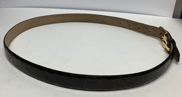 "Saks Men's Belt. Caiman Crocodile Exotic. Handmade In Italy. Brown. 34"" Preowned Excellent Condition. $155"