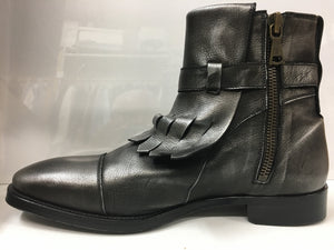 John Varvatos Men's Boots. Italian Handmade. Metallic Silver Leather Ankle Boots. 9.5. Med. New Never Worn.. $335.
