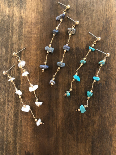 natural gemstone drop dangles