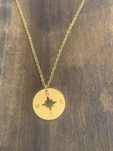 large gold compass pendant necklace