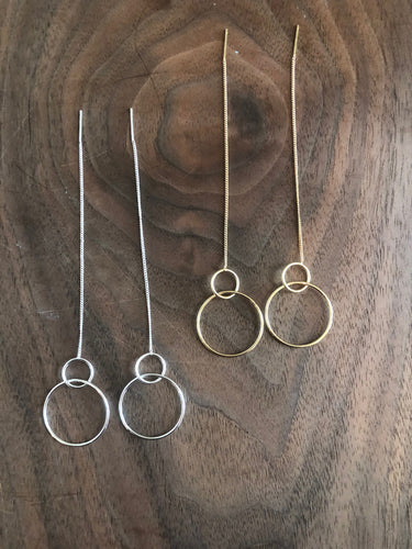 double circle threader earrings