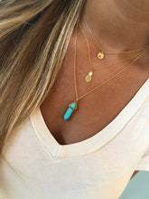 Load image into Gallery viewer, turquoise/howlite gemstone pointed pendant necklace.