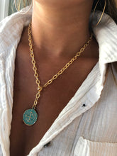 Load image into Gallery viewer, turquoise/green coin pendant necklace