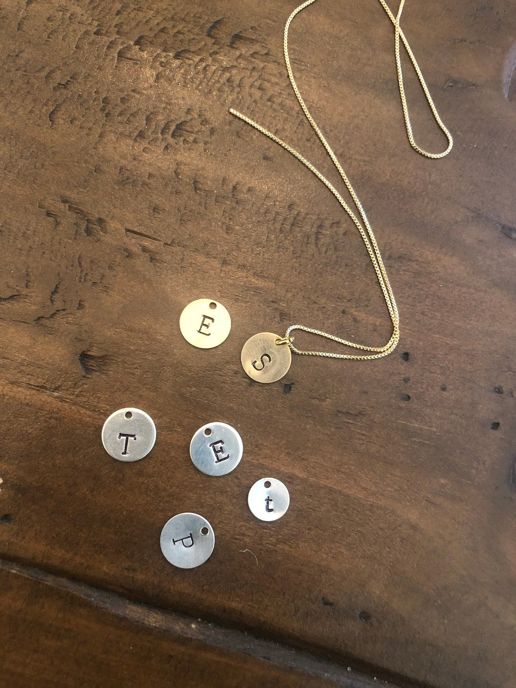 initial necklace-hand stamped
