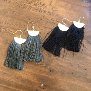 tassel half moon earrings