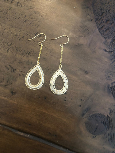 gold dangle hoop. hoop earring. gold dangle drop earring