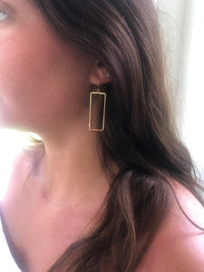 rectangle geometric hoops earrings