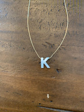 Load image into Gallery viewer, mother of pearl initial necklace. letter necklace. alphabet.