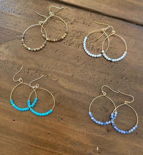 beaded dangle hoop