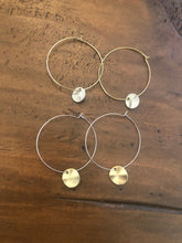 Load image into Gallery viewer, hammered circle dangle hoop earrings