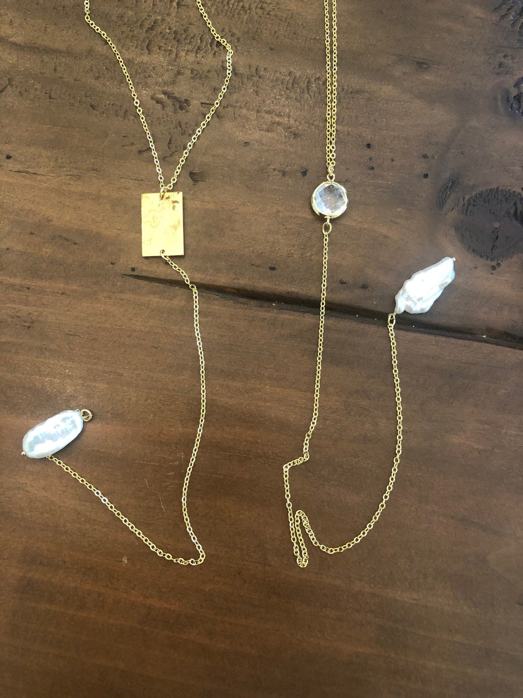 fresh water pearl/ crystal lariat necklaces