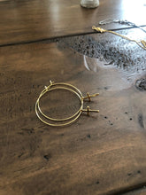 Load image into Gallery viewer, dangle cross hoop earrings