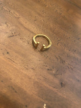 Load image into Gallery viewer, minimalist gold t-bar and cube rings. cube ring. t ring. pinky ring. simple ring. adjustable ring.