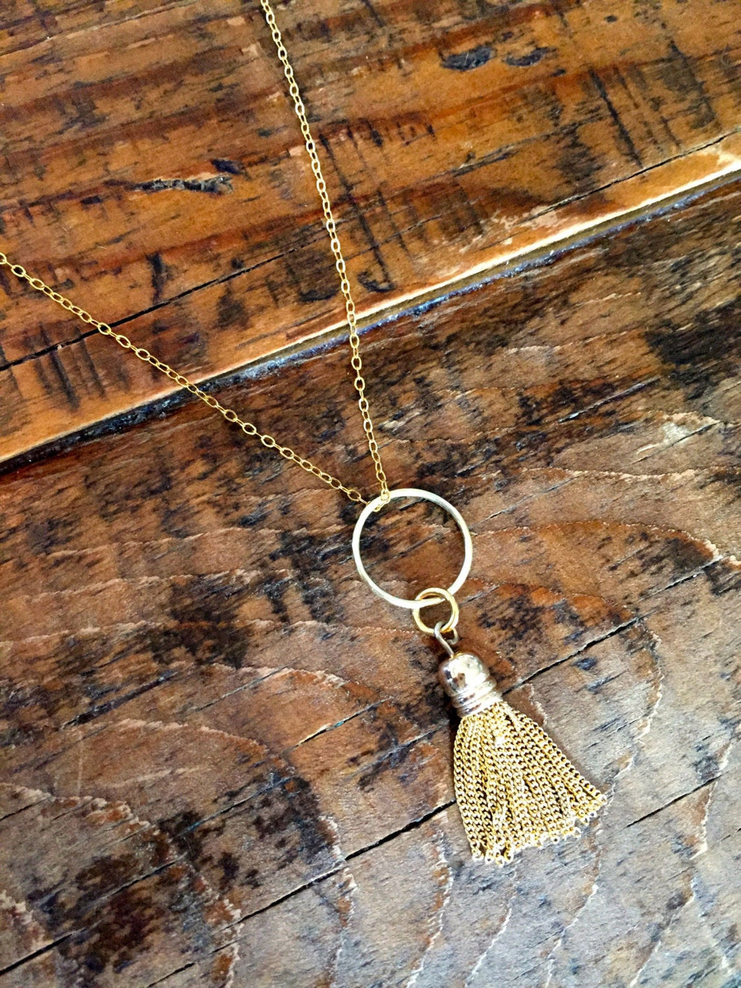 small tassel pendant necklace