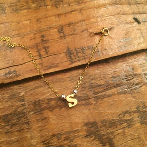 typewriter font initial necklace