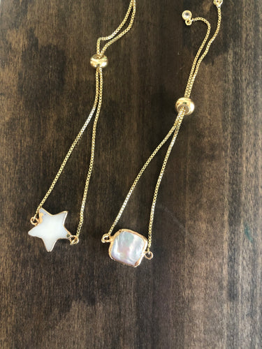 shell star/pearl square connector bracelet