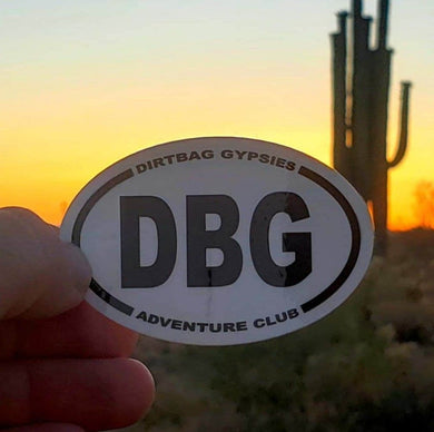 DBG Adventure Club Tumbler Sticker White with Black letters