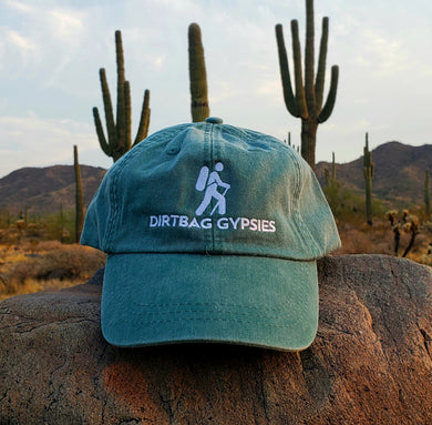 Forest Green Dirtbag Gypsies Embroidered Hat! Adams Optimum Solid Pigment Dyed Hat.