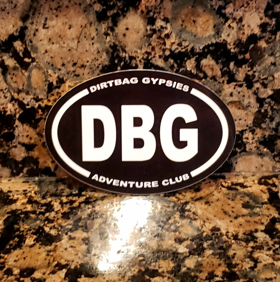 DBG Adventure Club Tumbler Sticker Black with White letters