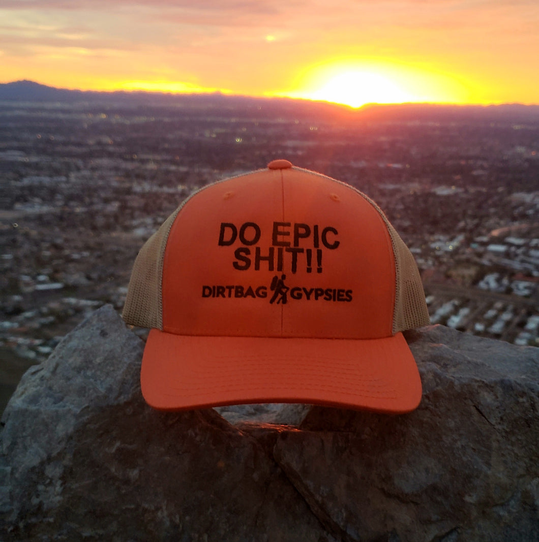DO EPIC SHIT!!  Rustic Orange/Khaki DirtBag Gypsies Snap Back Hat with Black