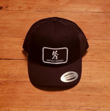 Black Trucker Patched Hat