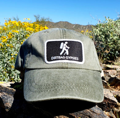 Olive Dirtbag Gypsies Patched Hat! Adams Optimum Solid Pigment Dyed Hat.