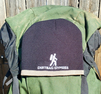 Black with Taupe Band Knit Beanie with White Dirtbag Gypsies Logo
